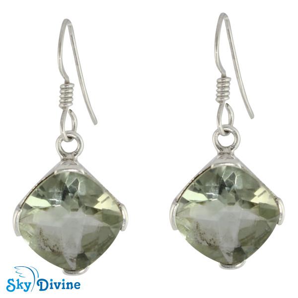 Sterling Silver Green Amethyst Earring SDER2131 SkyDivine Jewelry