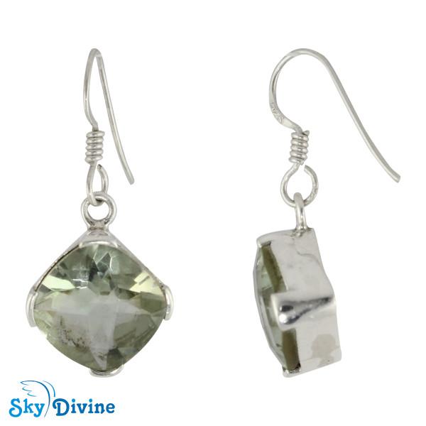 Sterling Silver Green Amethyst Earring SDER2131 SkyDivine Jewelry Image2