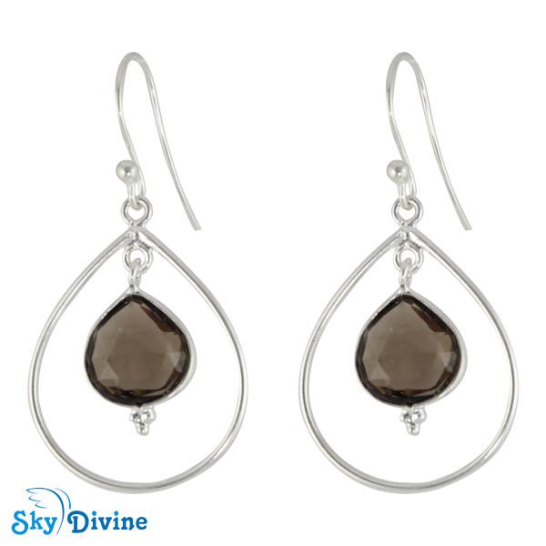 925 Sterling Silver smoky topaz Earring SDER2134 SkyDivine Jewelry
