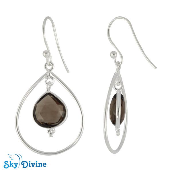 925 Sterling Silver smoky topaz Earring SDER2134 SkyDivine Jewelry Image2