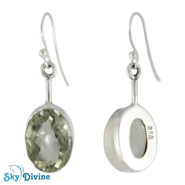 925 Sterling Silver Green Amethyst Earring SDER2137 SkyDivine Jewellery Image2