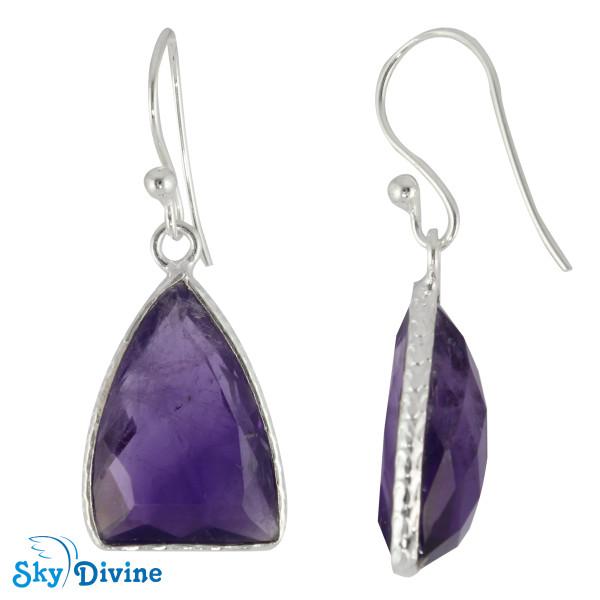 925 Sterling Silver amethyst Earring SDER2142 SkyDivine Jewellery Image2