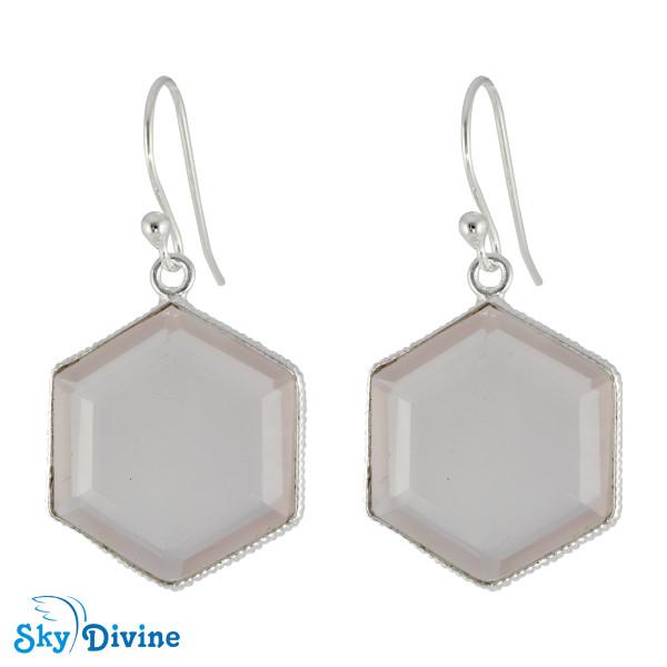 Sterling Silver Rose Quartz Earring SDER2154 SkyDivine Jewelry