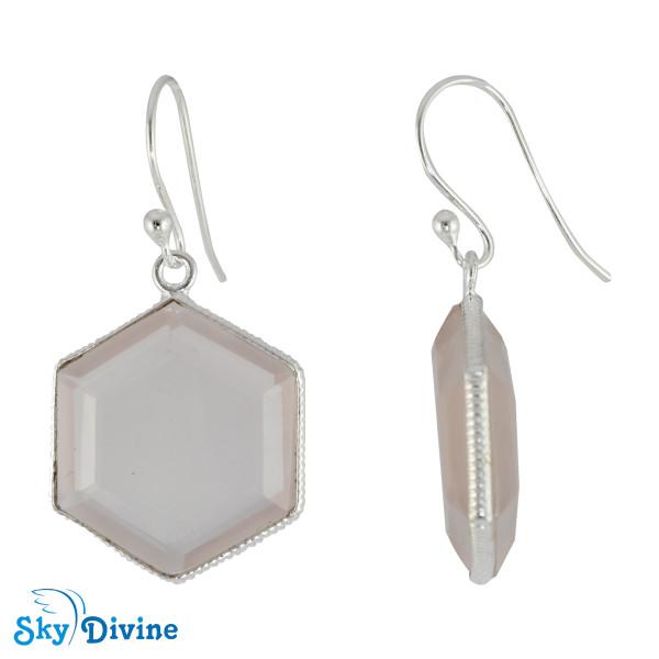 Sterling Silver Rose Quartz Earring SDER2154 SkyDivine Jewelry Image2