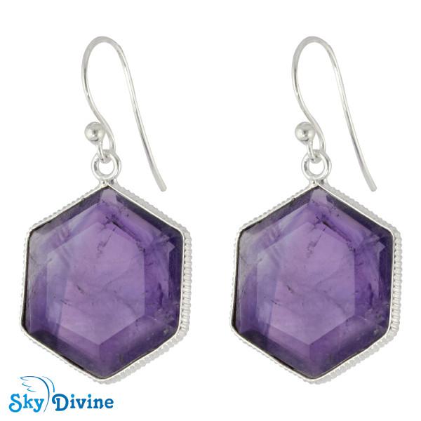 925 Sterling Silver amethyst Earring SDER2157 SkyDivine Jewelry