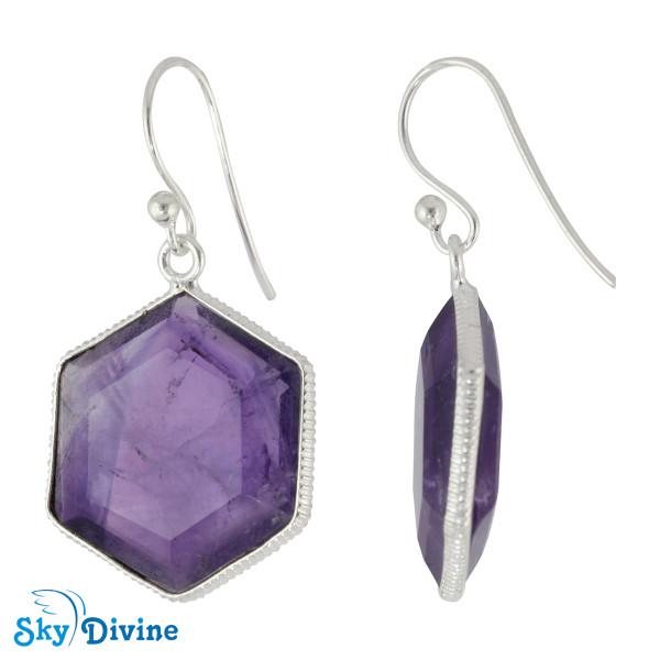 925 Sterling Silver amethyst Earring SDER2157 SkyDivine Jewelry Image2