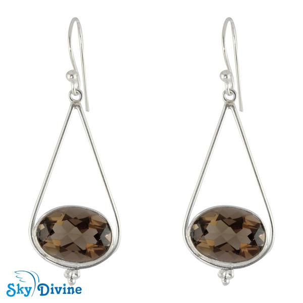 Sterling Silver smoky topaz Earring SDER2158 SkyDivine Jewellery