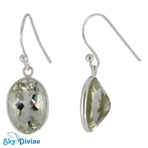 925 Sterling Silver Green Amethyst Earring SDER2159 SkyDivine Jewellery Image2