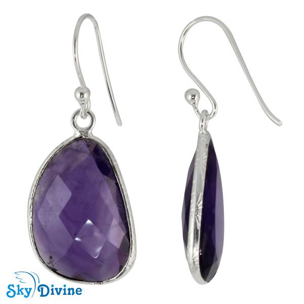 Sterling Silver amethyst Earring SDER2160 SkyDivine Jewelry Image2