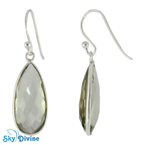 925 Sterling Silver Green Amethyst Earring SDER2161 SkyDivine Jewellery Image2