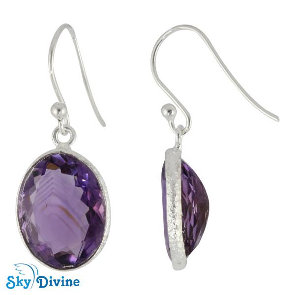 925 Sterling Silver amethyst Earring SDER2163 SkyDivine Jewellery Image2