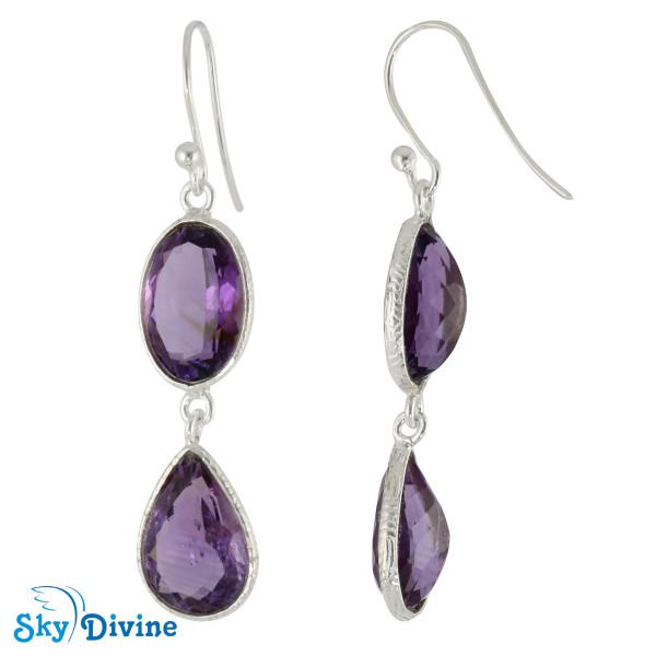 Sterling Silver amethyst Earring SDER2164 SkyDivine Jewellery Image2