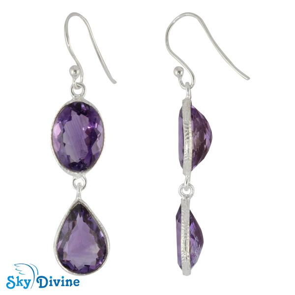 925 Sterling Silver amethyst Earring SDER2165 SkyDivine Jewelry Image2