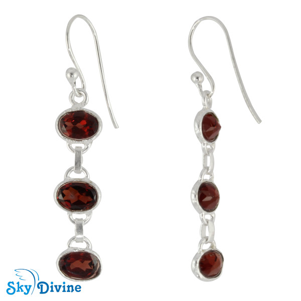 Sterling Silver Garnet Earring SDER2166 SkyDivine Jewellery Image2