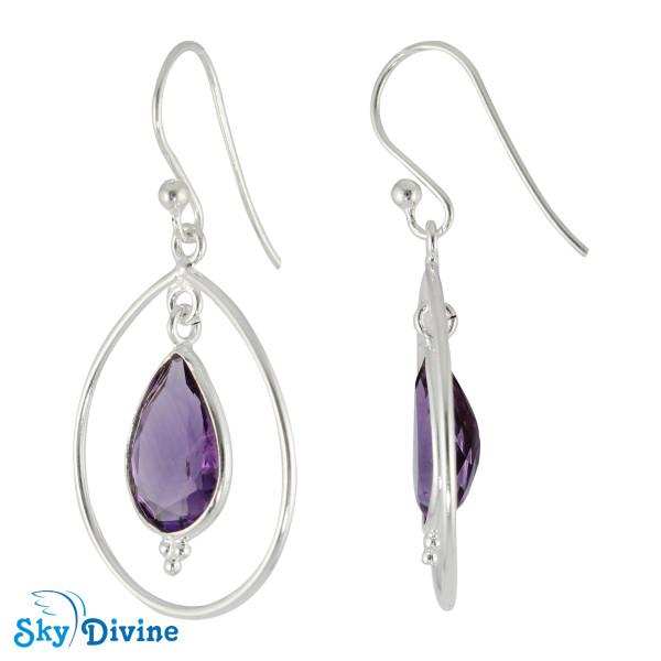 925 Sterling Silver amethyst Earring SDER2169 SkyDivine Jewellery Image2