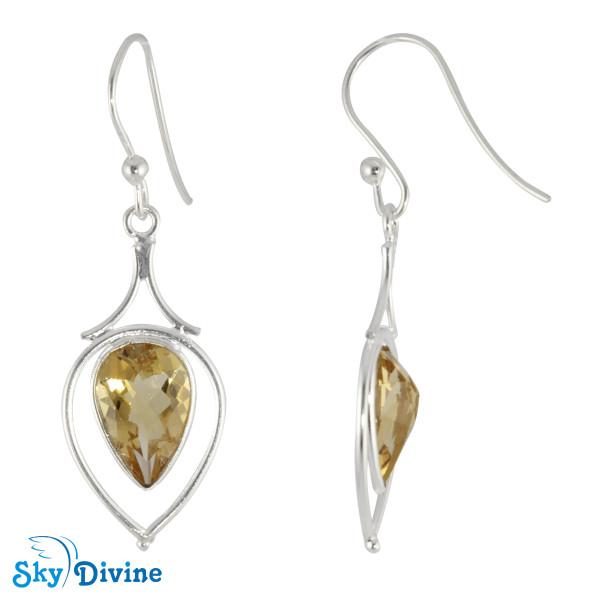 Sterling Silver Citrine Earring SDER2171 SkyDivine Jewellery Image2