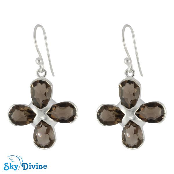 Sterling Silver Smoky Quartz Earring SDER2175 SkyDivine Jewelry