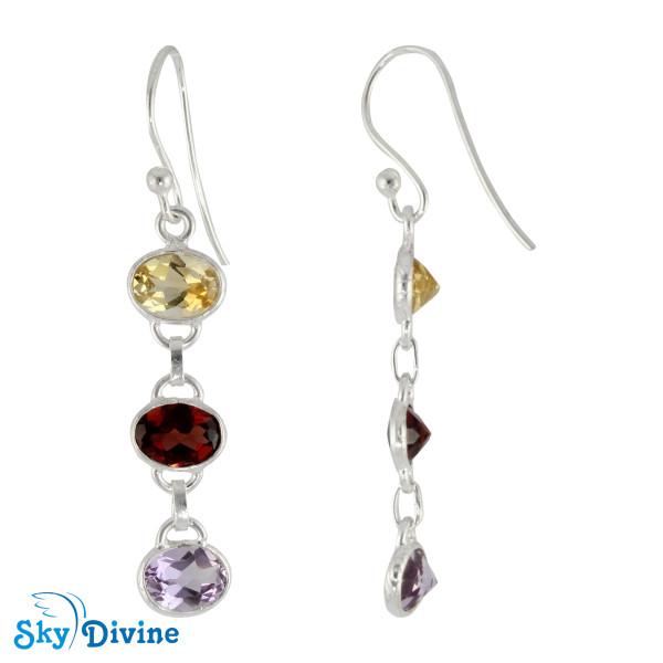 925 Sterling Silver Multi Stones Earring SDER2176 SkyDivine Jewellery Image2