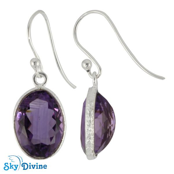 925 Sterling Silver amethyst Earring SDER2178 SkyDivine Jewelry Image2