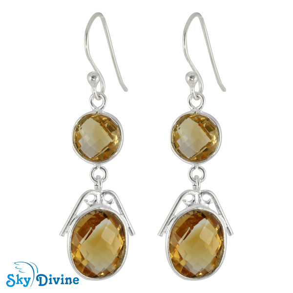 Sterling Silver Citrine Earring SDER2179 SkyDivine Jewellery