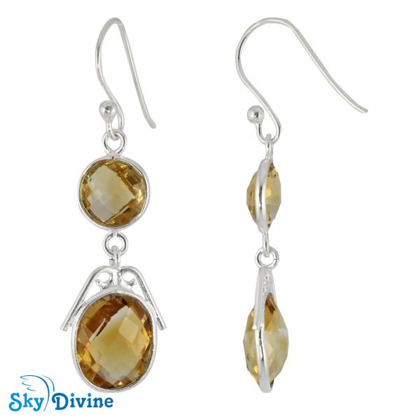 Sterling Silver Citrine Earring SDER2179 SkyDivine Jewellery Image2