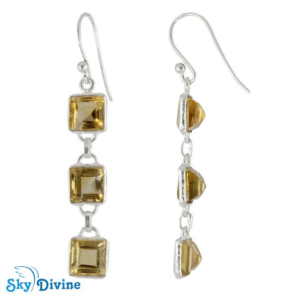 925 Sterling Silver Citrine Earring SDER2181 SkyDivine Jewellery Image2