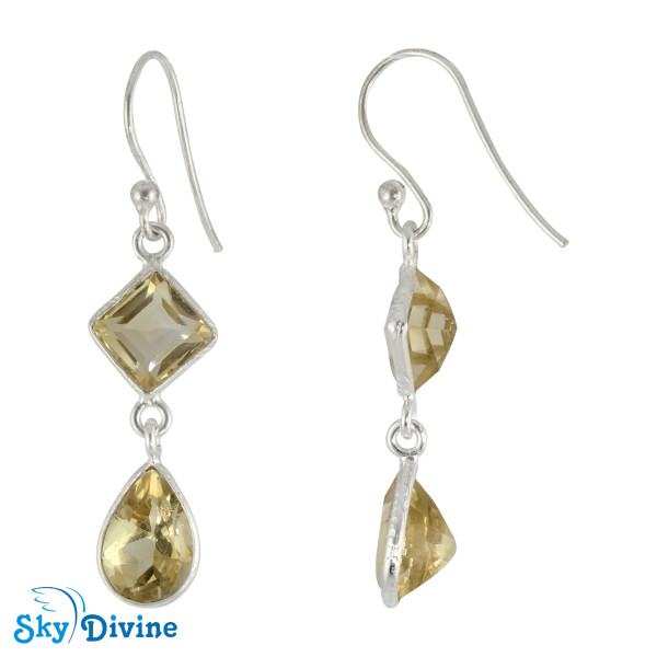 Sterling Silver Citrine Earring SDER2184 SkyDivine Jewellery Image2