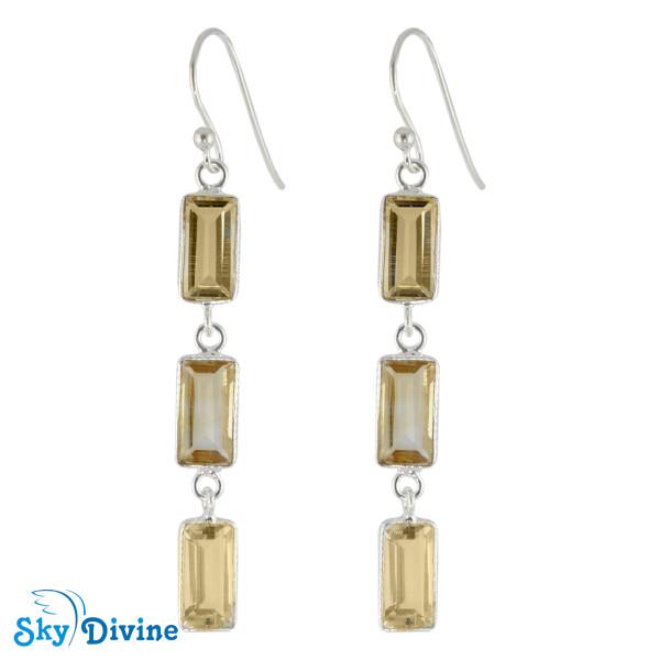 Sterling Silver Citrine Earring SDER2188 SkyDivine Jewelry