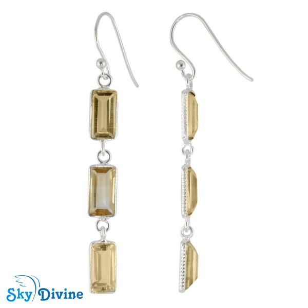 Sterling Silver Citrine Earring SDER2188 SkyDivine Jewelry Image2