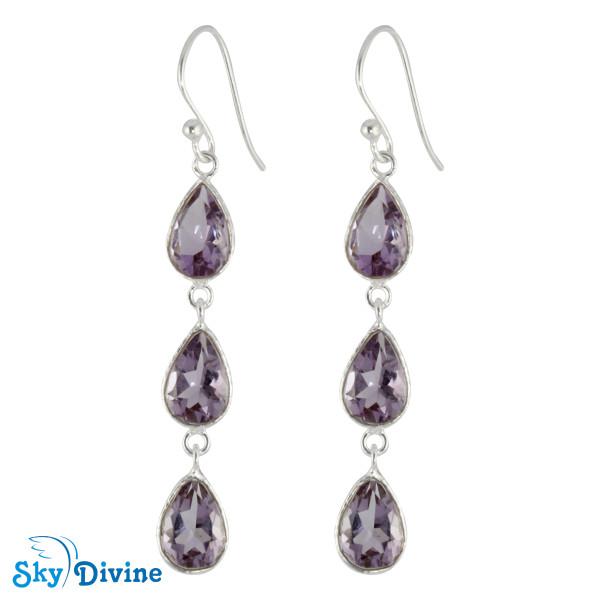 925 Sterling Silver amethyst Earring SDER2191 SkyDivine Jewelry