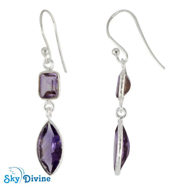 Sterling Silver amethyst Earring SDER2196 SkyDivine Jewellery Image2