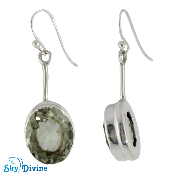 925 Sterling Silver Green Amethyst Earring SDER2137a SkyDivine Jewelry Image2