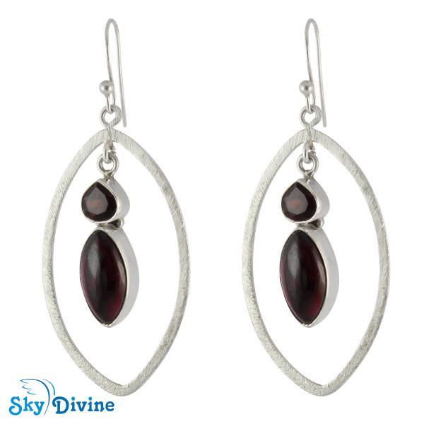 Sterling Silver Garnet Earring SDAER12c SkyDivine Jewelry