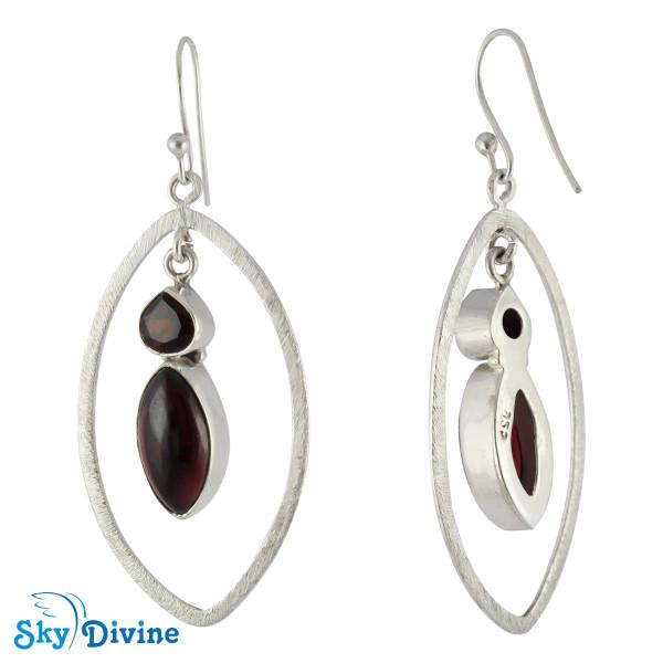 Sterling Silver Garnet Earring SDAER12c SkyDivine Jewelry Image2