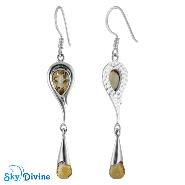Sterling Silver Citrine Earring SDAER21a SkyDivine Jewelry Image2