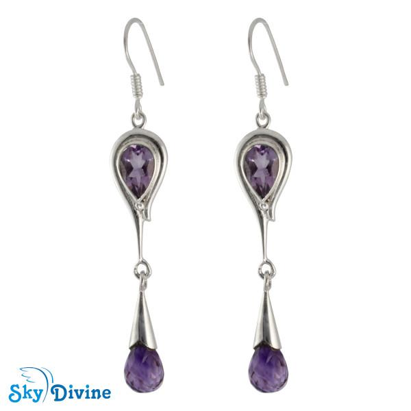 Sterling Silver amethyst Earring SDAER21c SkyDivine Jewellery