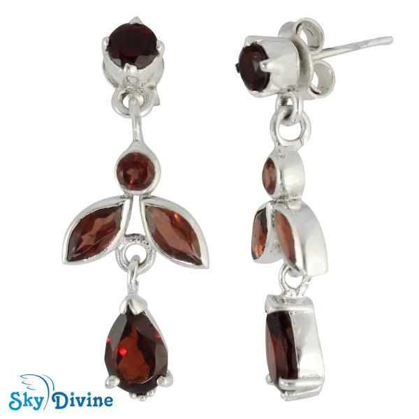 Sterling Silver Garnet Earring SDAER19b SkyDivine Jewellery Image2
