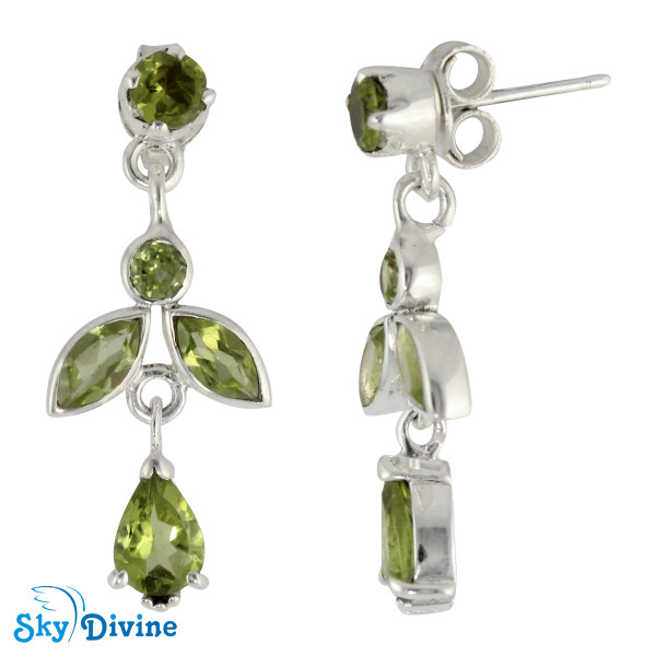 925 Sterling Silver peridot Earring SDAER19c SkyDivine Jewelry Image2