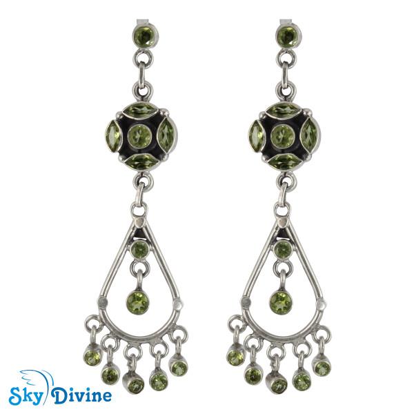 Sterling Silver peridot Earring SDAER25a SkyDivine Jewellery