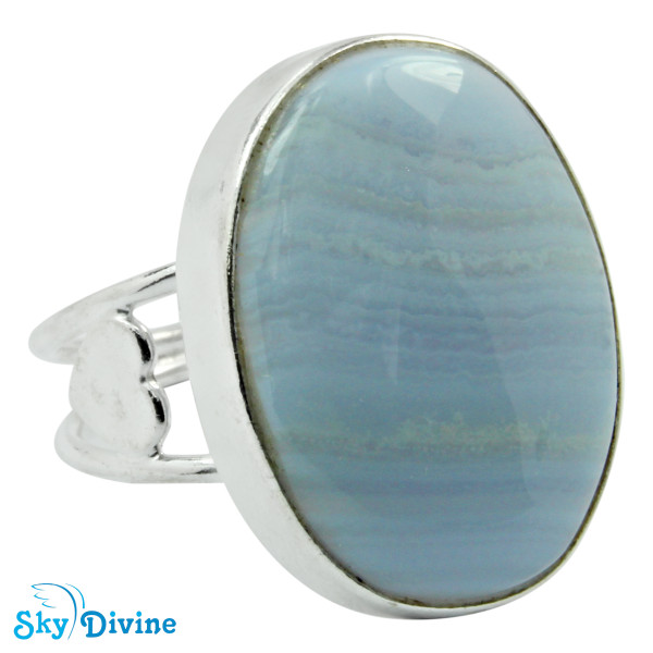 925 Sterling Silver Blueless Agate Ring SDR2103 SkyDivine Jewellery RingSize 8 US Image2