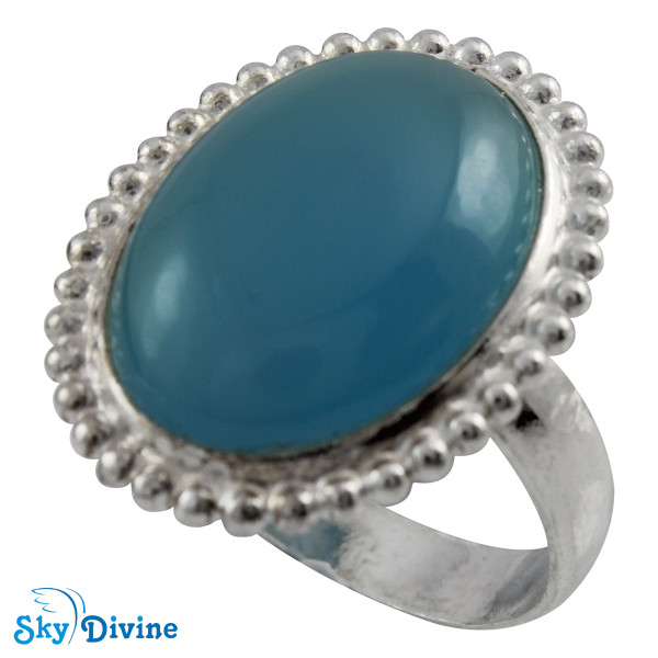 Sterling Silver Chalcedony Ring SDR2110 SkyDivine Jewelry RingSize 7 US