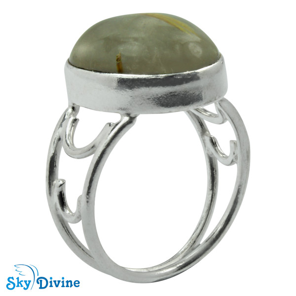 925 Sterling Silver Golden Rutile Ring SDR2113 SkyDivine Jewelry RingSize 7.5 US