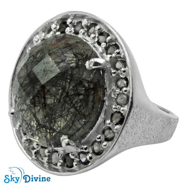 Sterling Silver Black Rutile Ring SDR2135 SkyDivine Jewelry RingSize 7 US Image2