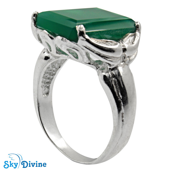 925 Sterling Silver green onyx Ring SDR2161 SkyDivine Jewellery RingSize 9 US