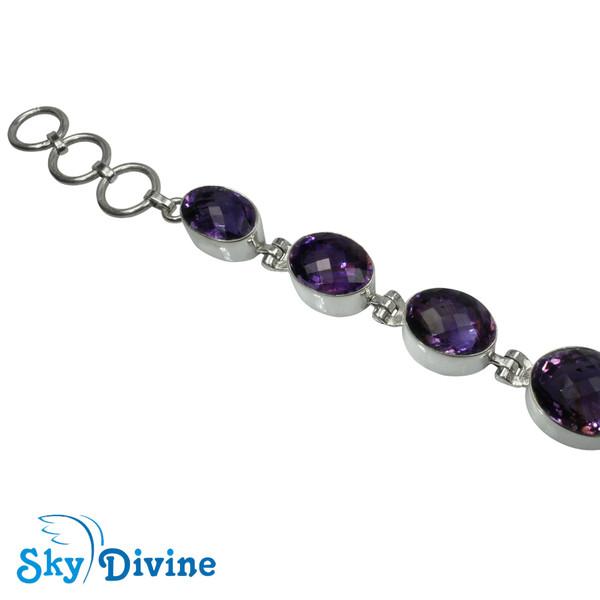 925 Sterling Silver amethyst Bracelet SDABR04 SkyDivine Jewellery Image2
