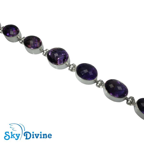 925 Sterling Silver amethyst Bracelet SDABR04 SkyDivine Jewellery Image3