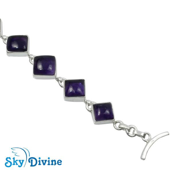 925 Sterling Silver amethyst Bracelet SDBR2102 SkyDivine Jewellery Image4