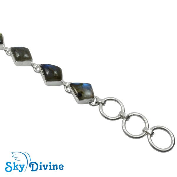 925 Sterling Silver Labradorite Bracelet SDBR2104 SkyDivine Jewellery Image4