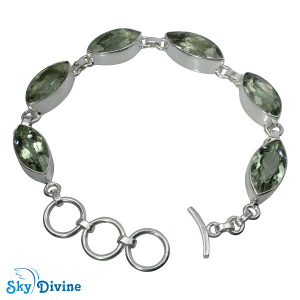 925 Sterling Silver Green Amethyst Bracelet SDBR2109 SkyDivine Jewellery