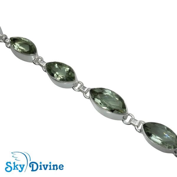 925 Sterling Silver Green Amethyst Bracelet SDBR2109 SkyDivine Jewellery Image3